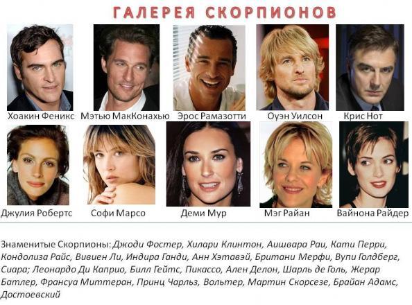знаменитые люди скорпионы