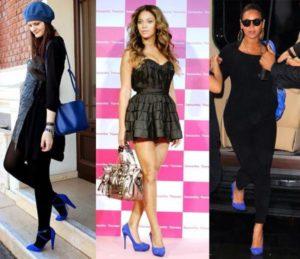 Что носить с синими туфлями