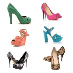 яркие цветные туфли