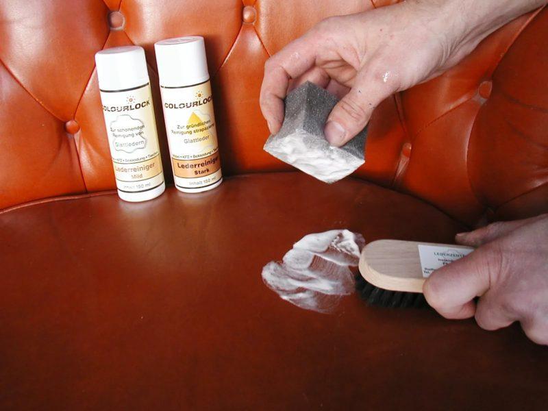 чистка сложных пятен с кожаного дивана
