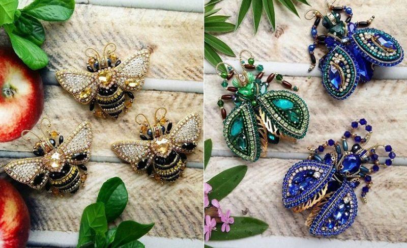 брошки насекомые из бисера
