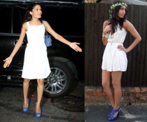 синие туфли с белой одеждой