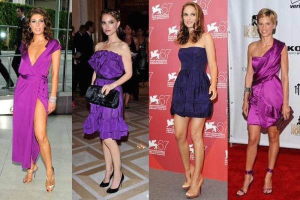 что носить с фиолетовым платьем