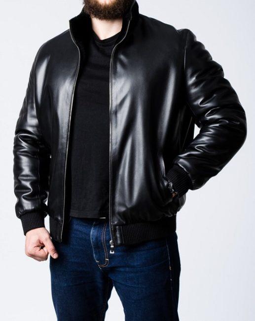 кожаная мужская зимняя куртка - тренд 2020